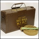 Vickers .303 Machinegun Bullet Belt & Wooden Ammo Box